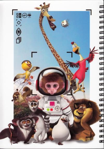 دفتر ایرانی ایام: 100 برگ تک خط سیمی شومیز - طرح آفتاب (میمون فضانورد)