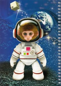 دفتر ایرانی ایام: 100 برگ تک خط سیمی شومیز - طرح میمون فضانورد